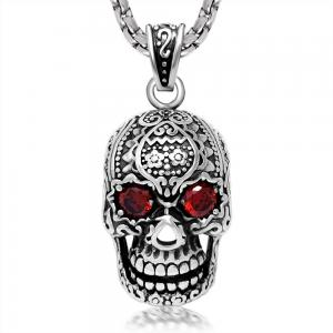 China Fashion Mens 316L Stainless Steel Pendant Necklace Skeleton Scary Face For Gift on sale