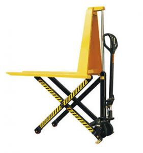China Yellow Color Steel Scissor Lift Hand Pallet Truck , Manual Hydraulic Stacker Straddle Lift Truck on sale