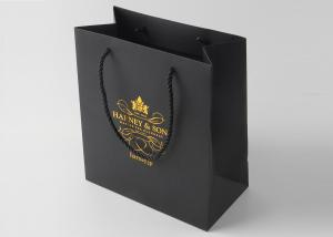 China Reusable Black Paper Boutique Shopping Bags Imprinted With Silver Stamping on sale