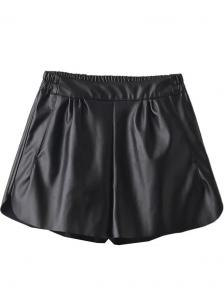 China Elastic Waist Women'S Pull On Casual Shorts Regular Fit Faux Leather PU on sale