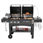 Flame Safety Commercial Kitchen Equipments Dual Fuel GAS / Charcoal BBQ Outdoor Combo Grills