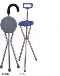 China elderly folding seat cane tripod walking on sale