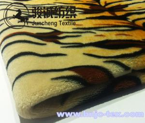 China Wholesale 100% Polyester Tiger Stripes Flannel Blanket Fabric Coral Fleece for bed use on sale