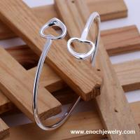 Graceful 925 silver jewlery thin metal bangle with lovely hearts