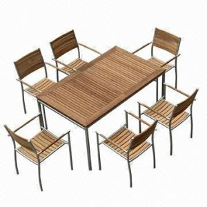 China Outdoor Dining Table Sets, Rectangle, Extendable with #304 Stainless Steel, Teak Furniture on sale