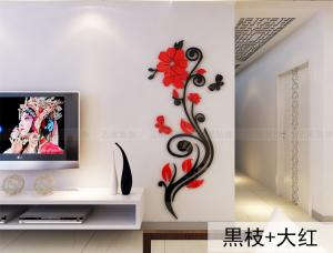 China high quality home decorations removable rose wall stickers/wall decals/art prints/adhesive wall decals on sale