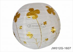 China Anniversary Ceremony 12 Inch Round Paper Lanterns With Hot Foil Gold Flowers on sale