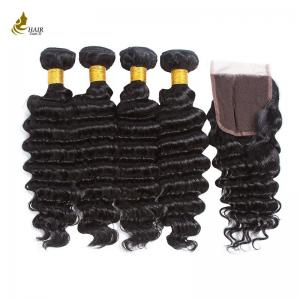 China 8A Virgin Brazilian Deep Wave Human Hair 3 Bundles With Closure Hair Extensions on sale