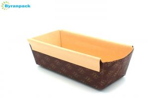 China Rolled Rim Brown Corrugated Cake Boxes Rectangle Ripple Wall 150*66*50mm on sale