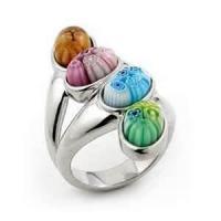 China Classical elegant Handicrafts purple jewelry set millefiori murano glass ring for Unisex on sale