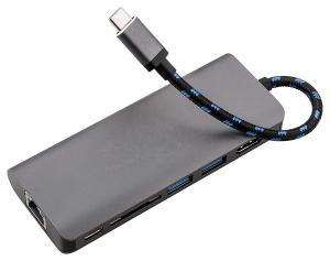 China Aluminum Type C Adapter Hub HDMI 4K,RJ45 Gigabit Ethernet,3 USB 3.0,SD card slot for New Macbook Pro,google chromebook on sale