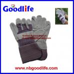 Rubberized palm cow leather glove with CE for consruction use