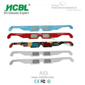 China Disposable Cardboard Paper Hand - Held Fireworks 3D Glasses With 0.18mm Polarized Light Lens on sale