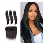 Silky Straight Front With Bundles Virgin Hair Extensions Double Weft Long Hair