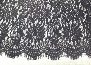 China Black Eyelash Lace Fringe Trim With Scalloped Edge For Bridal / Lingerie / Veils / Costumes on sale