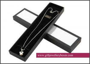 China Velvet Necklace Gift Boxes, rectangle black gift display jewelry box with necklace hooks for girls / women / men on sale