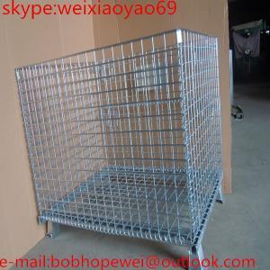 China Galvanized Folding Wire Storage Cage/security cage/pallet cage/steel storage containers/steel storage cabinets on sale