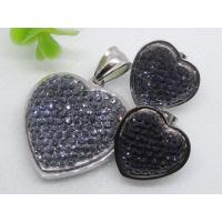 China Hight quality black color Heart shape Stainless steel glass jewelry set 1900460 on sale