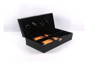 China Custom Luxury Wooden Wine Box Pu Leather Material ISO9001 2008 Certification on sale