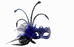 China Mens Beautiful Blue Feather Masquerade Mask For Christmas Party on sale
