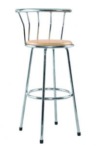 China Low Back Metal Kitchen Stools , Wood And Iron Counter Stools Chrome Frame on sale