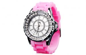 China Pink Lady Quartz Movt Watch Trendy Small Face LED Light Up Watch on sale