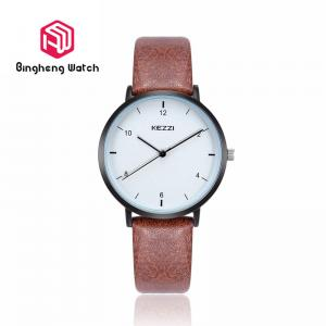 China Simple Lovers Couple Wrist Watches Sport Style Leather Band With Round Case on sale
