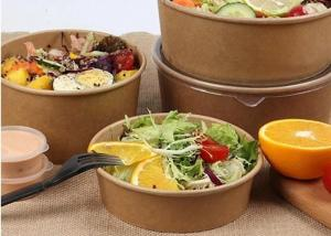 China Recyclable Paper Soup Bowls , Custom Hot & Cold Paper Salad Containers on sale