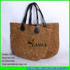 China LUDA high quality pu  handles beach bag brown raffia crochet straw handbag on sale