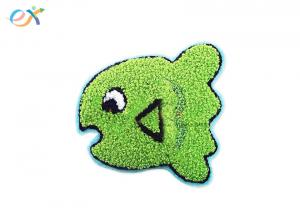 China Twill background Cute Cartoon Green Color Laser Cut Towel Chenille For Bag on sale