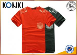 China Personalised Printed Mens Short Sleeve Shirt With Pocket Scoop Neck Sweatshirts on sale