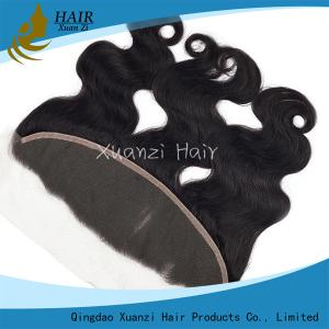 China Silk Base Frontal Closure Swiss Lace  , Brazilian Hair Weave 13  *  4 Inches on sale