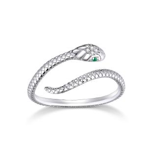 China New Snake Sterling Silver Ring Opening Clever Diamond Snake Ring For Men And Women on sale