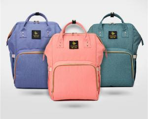 China Waterproof Pink Baby Diaper Bags, Mummy Baby Changing BackpackWith Hardware Pendant on sale
