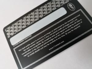 China Durable Matte Black Metal Business Cards With Silver Printing And Signature Panel on sale