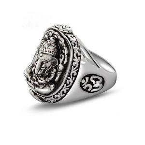 China Men's Thailand Vintage Old Sterling Silver Ring Elephant Style (R121409) on sale