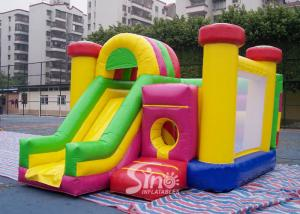 China Outdoor Kids Inflatable Bouncy Castle With Slide And Pillars Inside Made Of Best Pvc Tarpaulin on sale