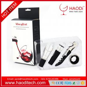China Bottle opener tool gift set 4pcs Corkscrew Pourer Stopper Collar with gift box on sale