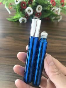 China cosmetic packaging 10ml shiny blue glass roll on bottle with metal ball for perfume essential oil on sale