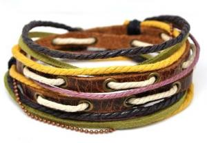 China Color hemp, cotton cord knotting handmade stretch Leather Rope bangle Bracelet on sale