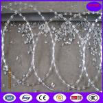 China High security Hot Dipped Galvanized 600mm Flat Wrap Razor Wire with heavy clips