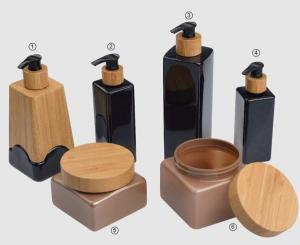 Quality 350ml 500ml bamboo jar,750ml 500ml 250ml 200ml bamboo bottle packagings with PEGT material for sale