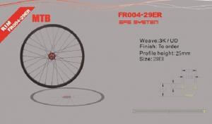 Quality 29er Monocoque Carbon Bike Wheelset , Novatec D711 hub Clincher Carbon MTB for sale
