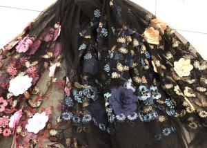 China Flower Embroidered Sequin Lace Fabric , Multi Colored 3D Flower Mesh Lace Fabrics on sale