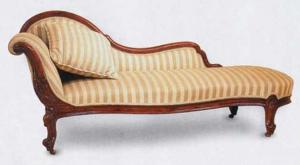 Antique Fabric Reclining Indoor Chaise Lounge Chair Wood ...