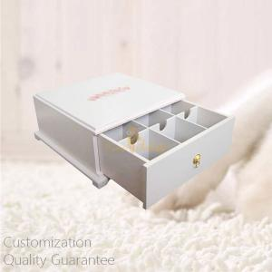 China Custom Wooden Tea Bags Display Storage Gift Box with Printed Personal Logo, Pull Out Drawer. Small Order. on sale