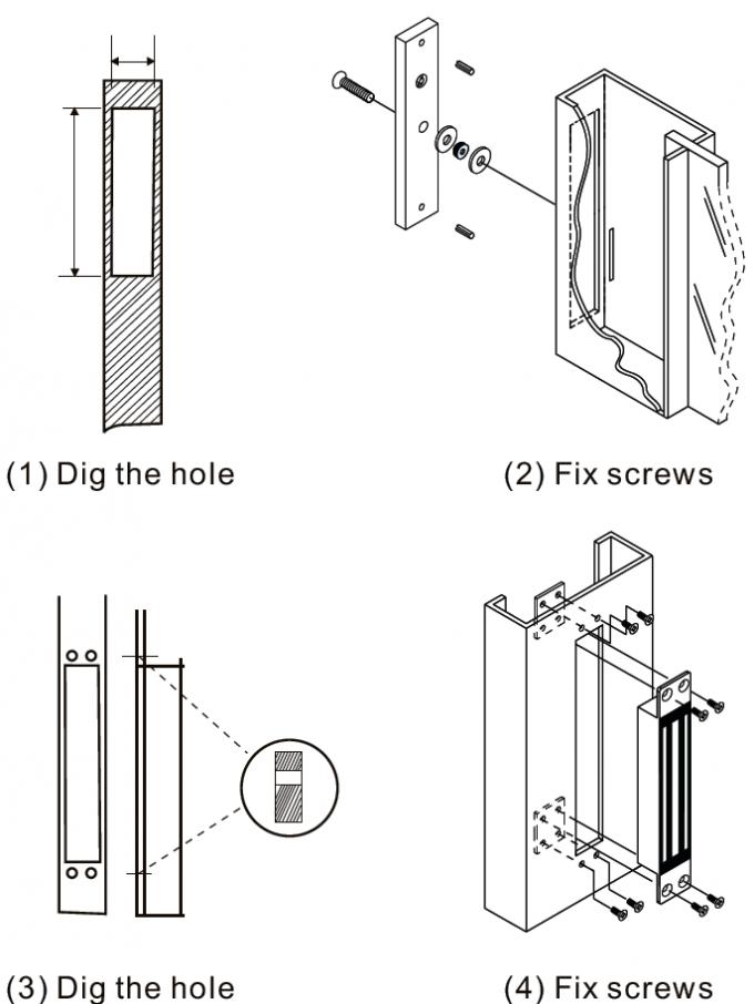 DC12V 600lb Commercial Magnetic Door Locks , Single Door Magnetic Lock-JS-280M