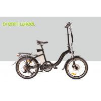 Black 10.4Ah Electric Folding Cruiser Bicycle 36V 20 Inch With Disc Brake