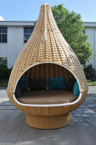 China Durable Discount Rattan Furniture 7PCS Rattan Hanging Chair / Daybed With Round Base on sale
