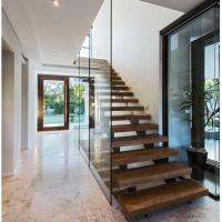 China Indoor prefabricated stairs wooden floating stairs on sale
